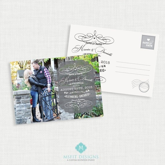 Save the Date Postcard - Save the date Invitation - 5x7 - Printable file - Wedding Postcard - Wedding Invite