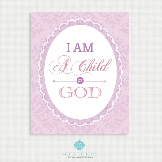 Nursery Wall Decor - I am a child of god - Bible Verse Prints - Nursery Room Decor - Wall Art