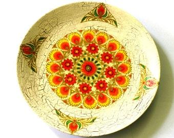 Lovely Decoupage decorative Plate Folk Floral Shabby Chic Beige