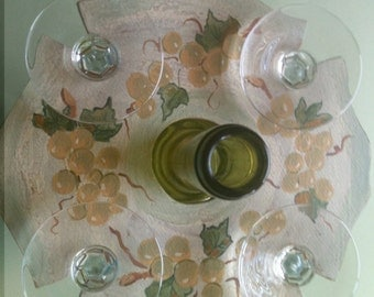Hand-Painted Green Grapes Wine Glass Caddy; Wine Glass Hanger for Four Glasses, Wine