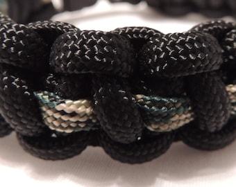 Black/Camo 550 Paracord Bracelet, Survival Bracelet