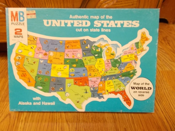 Map Puzzle Milton Bradley 1961 United States by ShabbyVintageHome ...