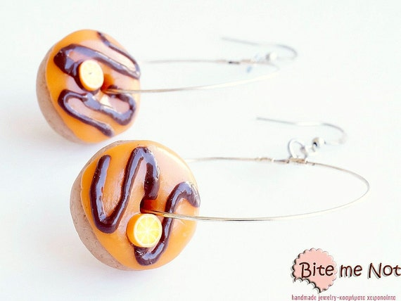 Donut Earrings - Chocolate Orange Donut Hoops Earrings