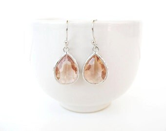 Peach glass drop earrings. Silver peach teardrop earrings Champagne glass earrings Blush earrings, peach bridesmaids Peach gemstone earrings