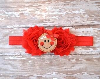 Christmas Headband, Gingerbread Headband, Christmas, Christmas Bow, Newborn Headband, Christmas Headband, Red Hair Bow, Flower Headband