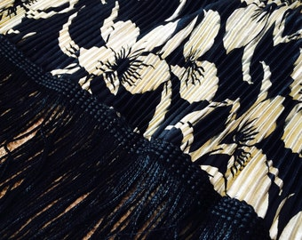 Vintage Shawl, Gold Crinkle Fabric, Fringed, Metallic Gold, Black, Floral Print, Made in US, Bold, Rectangle