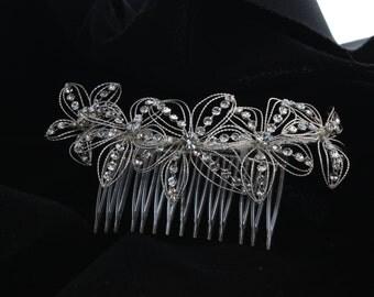 Bridal Flower Rhinestone Hair Comb