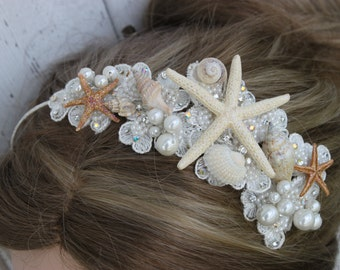 Beach Starfish & Shell Headband / Bridal Beach Hair Accessories