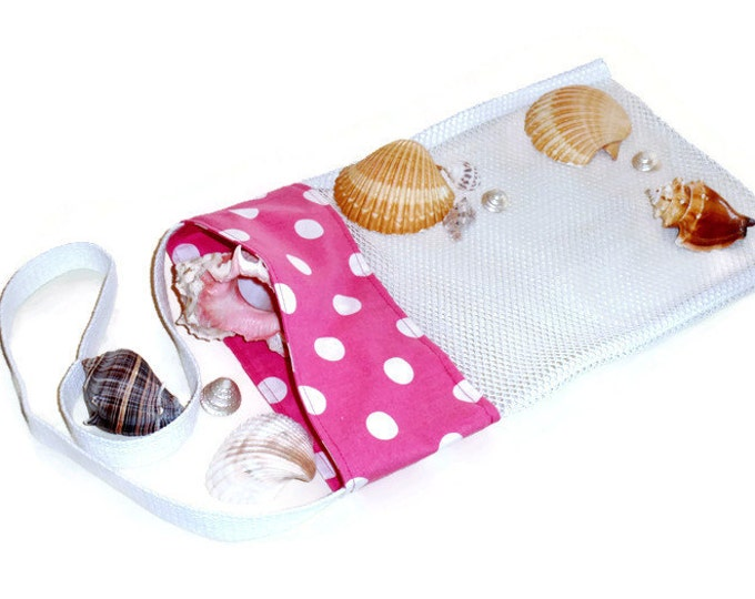 Girls Easter Egg Hunting Bag, Mesh Beachcomber Sea Shell Collecting, Beach or Pool Toy Bag, Pink Polka Dot Tote, Gift For Girls or Women