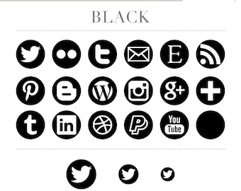 Social Media Icons - Simple Circles - Black - Instant Download
