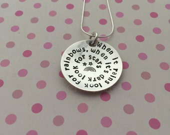 "Hand stamped sterling necklace, pendant ""when it rains look for rainbows, when it's dark look for stars"" , rainbow, stars, inspirational"