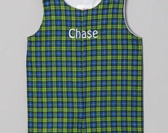 Boys Shortall Jon Jon Navy Green Plaid Monogram Personalize Outfit