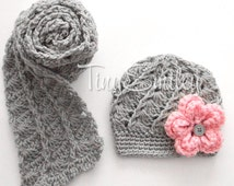 Set, Crochet Baby Hat and Scarf in Gray, Lace Ribbed Crochet Newborn Baby Hat, Crochet Baby Scarf, Infant Scarf, Baby Girl Set