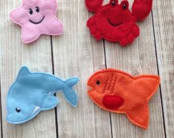 Sea life finger puppet set, Ocean finger puppets, Fish Finger Puppets, Kids Finger Puppets