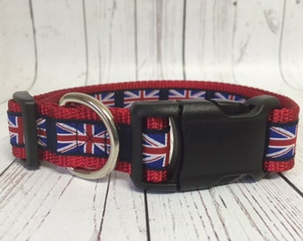 "Union Jack Collar 1"" or 5/8"" Wide Dog Collar"