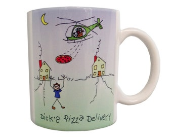 Dicks Pizza Delivery Coffee Mug, Original Artwork Stick Figure, Helicopter, Aviation, Pilot
