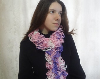 Women's Ruffles Pink-Purple Shades Spring Scarf - Hand Knit Accessory