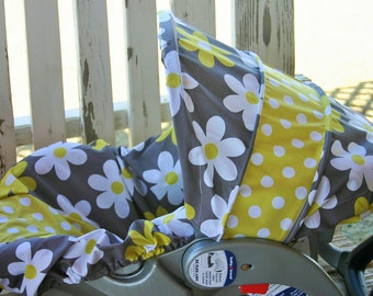 daisys and yellow and white polka dot infant car seat cover and hood cover