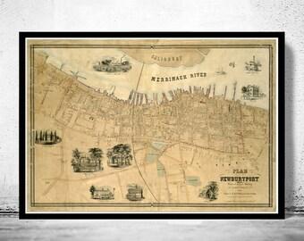 Old Map of NewburyPort,  Massachusetts Vintage 1851