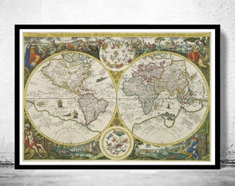 Old World Map Antique 1596