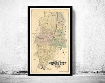 Old Map of Jersey City and Hoboken , Hudson County 1882