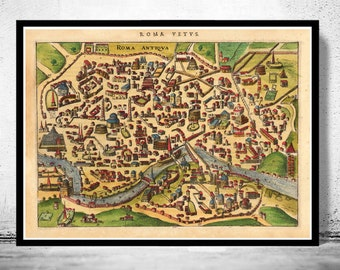 Old Map of Rome Roma, Italy 1627 Antique Vintage Italy