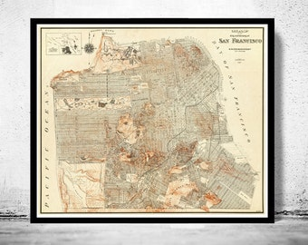 Old Map of San Francisco, United States of America Vintage 1929