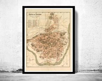 Old Map of Toledo Spain 1904 Vintage map