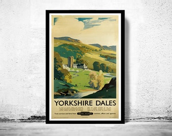Vintage Poster of Yorkshire Dales England  1920 Tourism poster travel