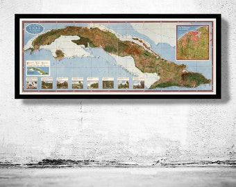 Old Map of Cuba and Habana