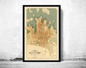 Old Map of Sydney, Australia 1886 Vintage map