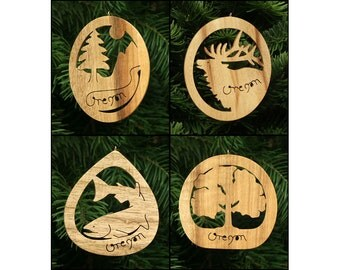 Oregon Myrtlewood Nature Christmas Ornament Set 1: Mountain, Elk, Salmon, Oak Tree