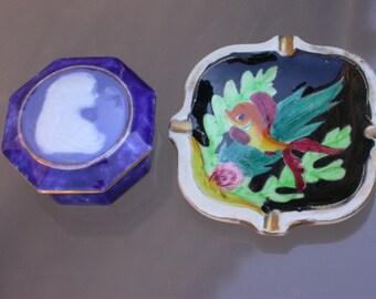 French antique  Blue enamel Limoge porcelain  box  signed gold gilt edge  Fish hand painted  tray singedceramic Sapphire