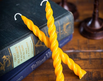 "7"" Beeswax Spiral Taper Candles"