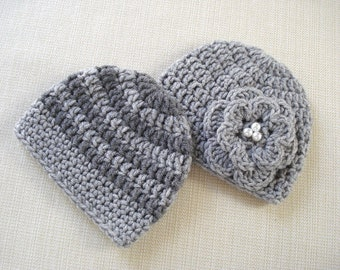 Baby twin girl and boy hats set Newborn twin hats Newborn twin photo prop Newborn girl boy twins hat Crochet baby hat New born twins gift