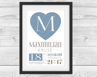 "Birth announcement personalized ""letter blue"""