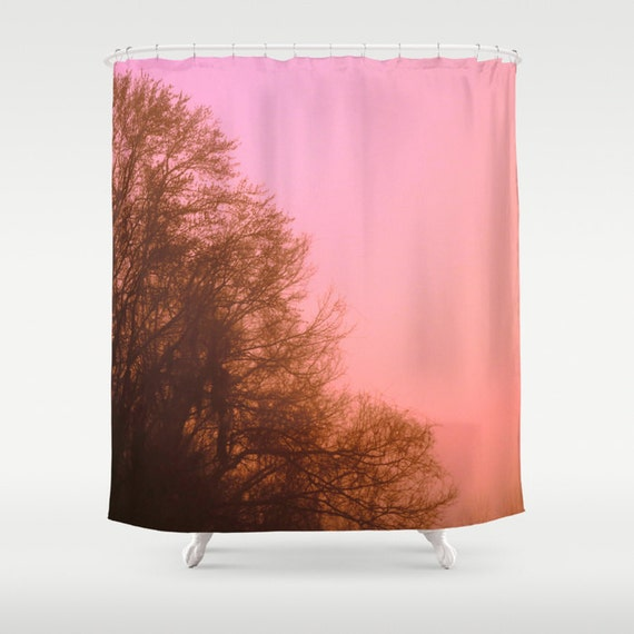 items similar to pink shower curtain pink tree pink and brown bathroom decor romance flower. Black Bedroom Furniture Sets. Home Design Ideas