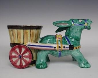 Italian donkey & cart ceramic vase