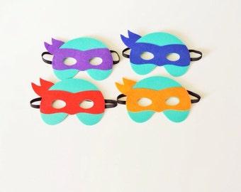 Kids Superhero Mask - TMNt- Raphael- Leonardo - Donatello- Michelangelo- Ninja Turtles- TMNT Birthday- TMNT Birthday Outifit- Ninja Outfit