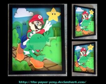 "11"" x 14"" Mario and Yoshi Shadowbox"
