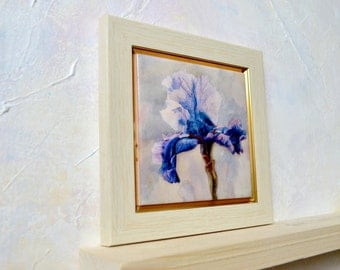 Blue Iris Hand Painted Ceramic Tile Wall Art Painting Watercolor Home Decor Blue Flower Painting flower art print Watercolor Iris Floral Art