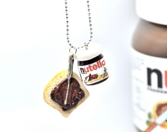 Nutella necklace,Nutella breakfast necklace,Polymer clay jewelry,Miniature food jewelry