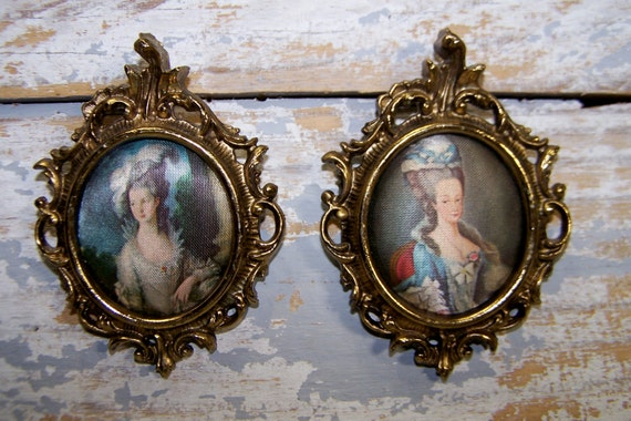 Framed Silk Art: Vintage MiniatureOval By SexyTrashVintage