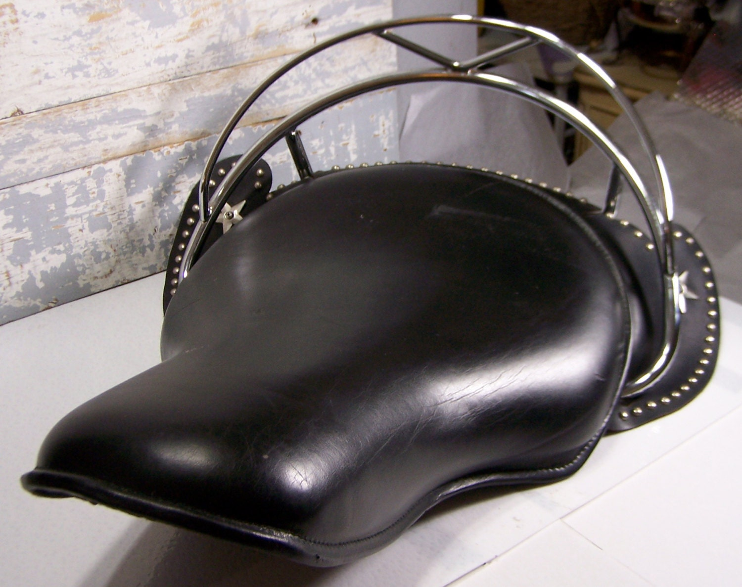 Old Motorcycle Seats : Reserved leather solo motorcycle seat vintage black metal