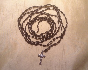 Black 15 Decade Rosary with Metal Crucifix