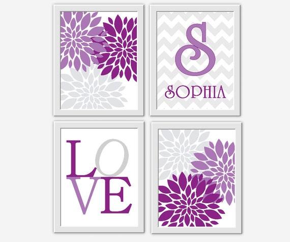 baby nursery wall art purple gray modern flower bursts. Black Bedroom Furniture Sets. Home Design Ideas