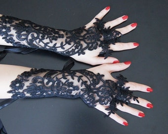 Black Grandeur luxury Wedding Gloves, Lace Wedding Accessory, Bridal accessory, Fingerless Gloves, vampire glove
