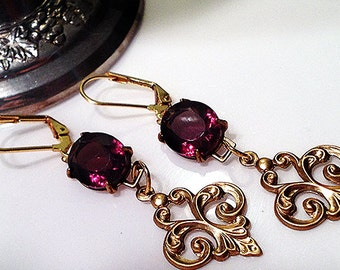 Renaissance Romantic bridal fairytale earrings purple filigree crystal drop