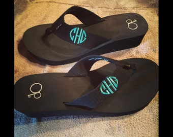 Embroidered Monogrammed Flip Flops any thread color