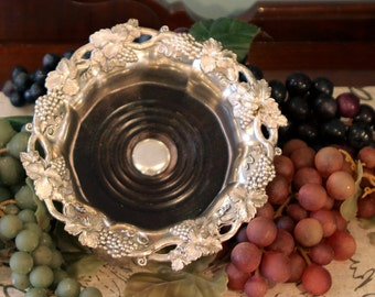 Corbell Silver Plate Bottle Coaster with Natural Wood Base - Champagne Bottle Coaster - Wine Bottle Coaster - Grape Motif